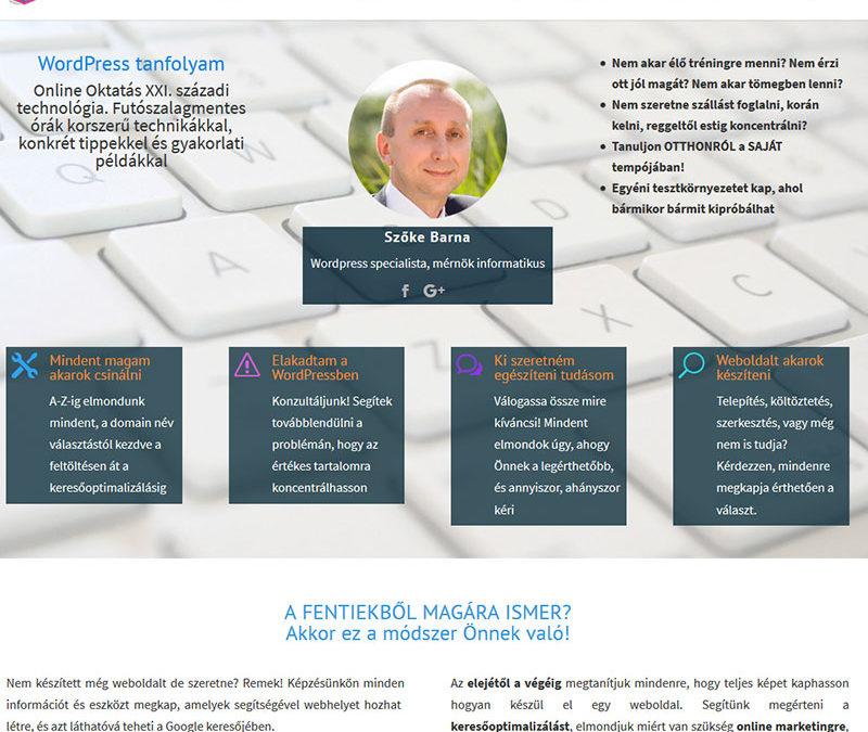Weblap készítés WordPress tanfolyam részére